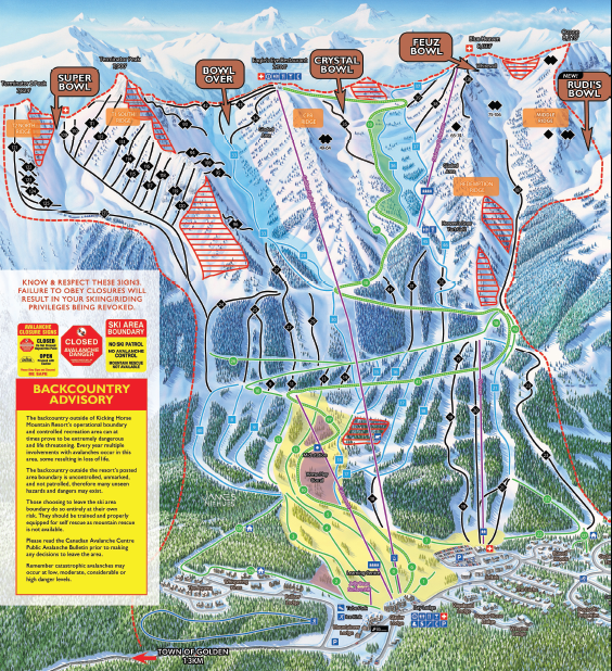 Kicking Horse Mountain trail map
