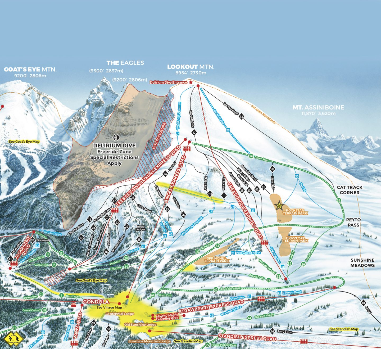 Banff ski resort trail map